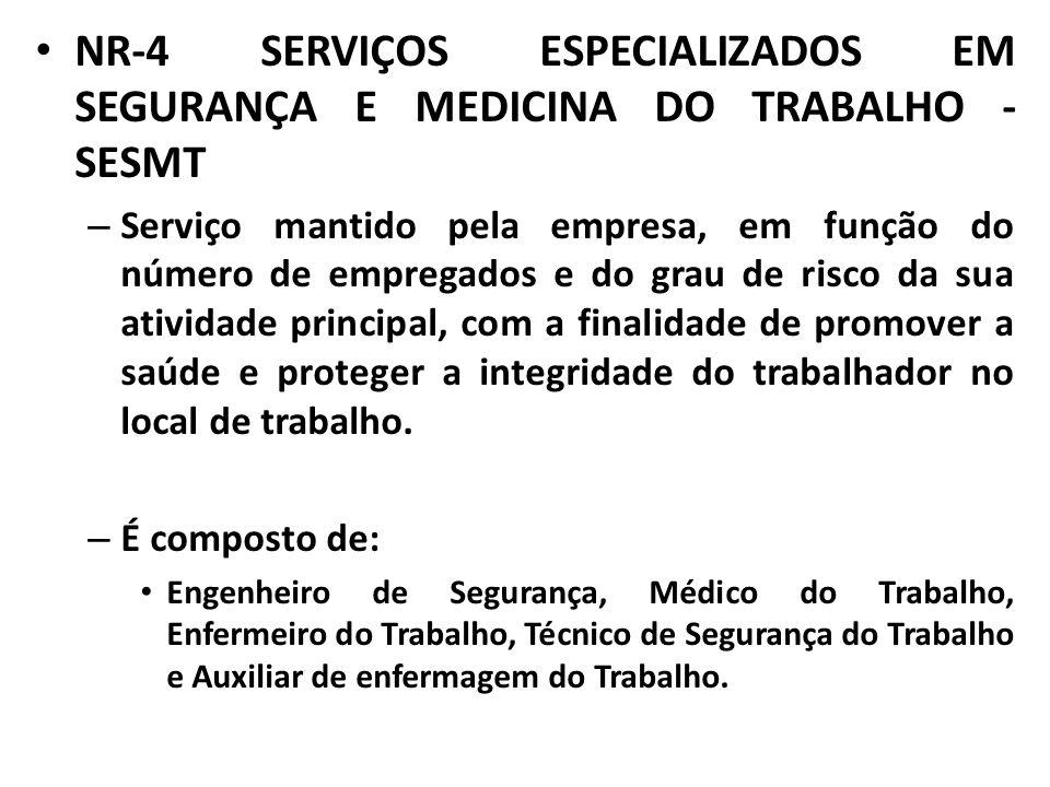 NR-4 SERVIÇOS ESPECIALIZADOS EM SEGURANÇA E MEDICINA DO TRABALHO - SESMT