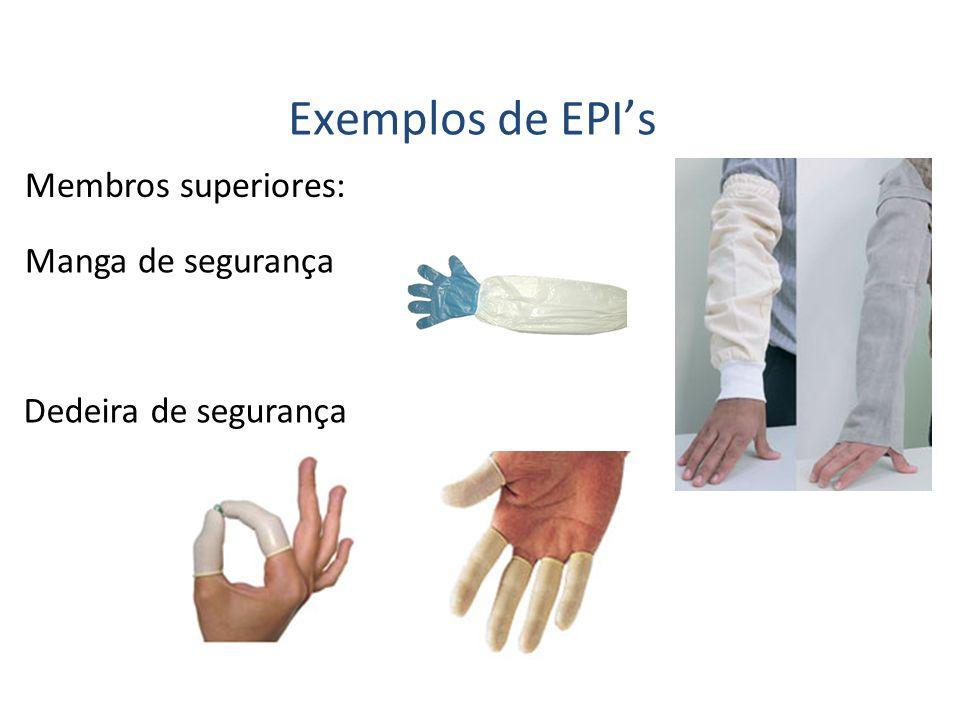 Exemplos de EPI's Membros superiores: Manga de segurança