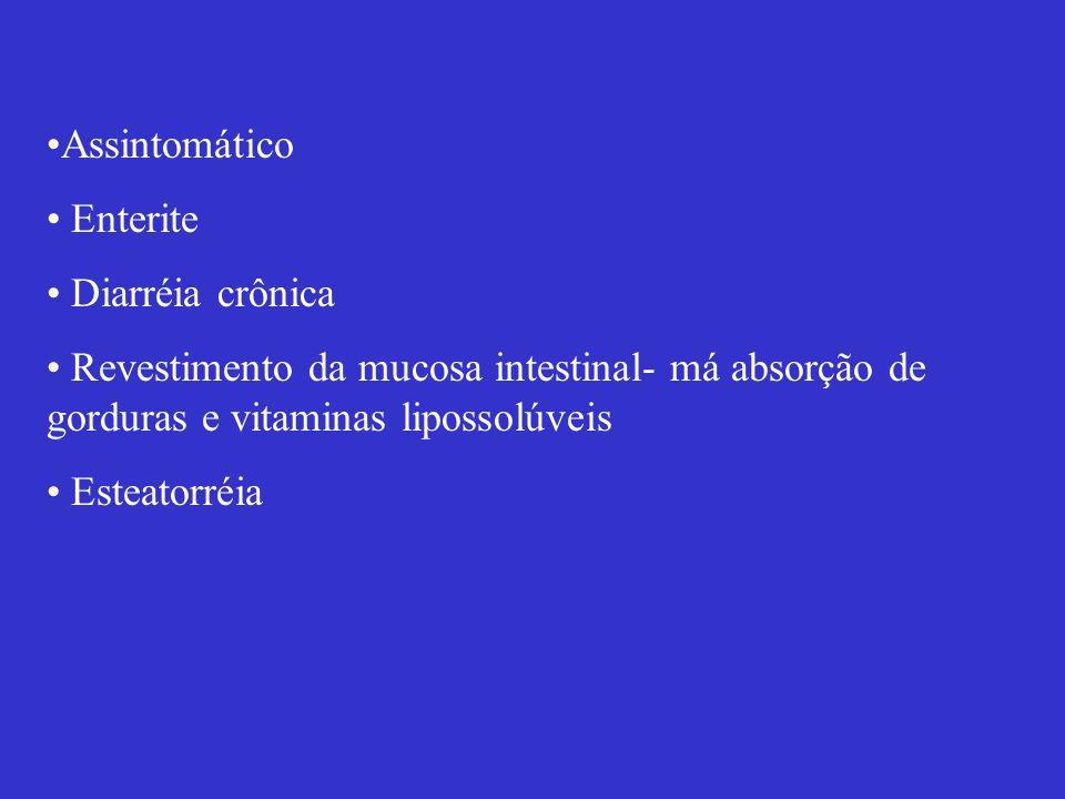 Assintomático Enterite. Diarréia crônica. Revestimento da mucosa intestinal- má absorção de gorduras e vitaminas lipossolúveis.