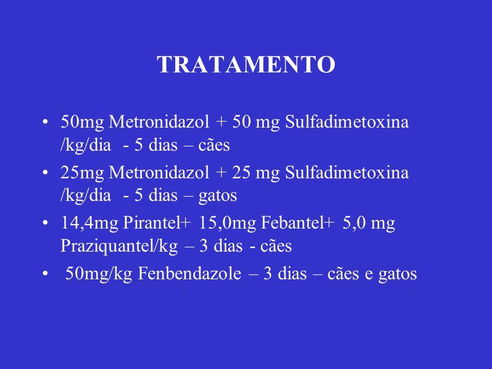 TRATAMENTO 50mg Metronidazol + 50 mg Sulfadimetoxina /kg/dia - 5 dias – cães. 25mg Metronidazol + 25 mg Sulfadimetoxina /kg/dia - 5 dias – gatos.