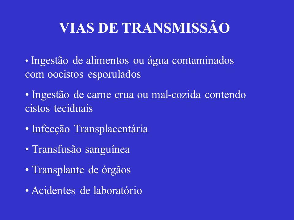 VIAS DE TRANSMISSÃO Ingestão de alimentos ou água contaminados com oocistos esporulados.