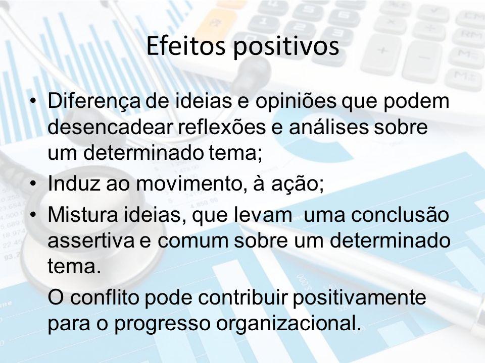 Efeitos positivos Diferença de ideias e opiniões que podem desencadear reflexões e análises sobre um determinado tema;