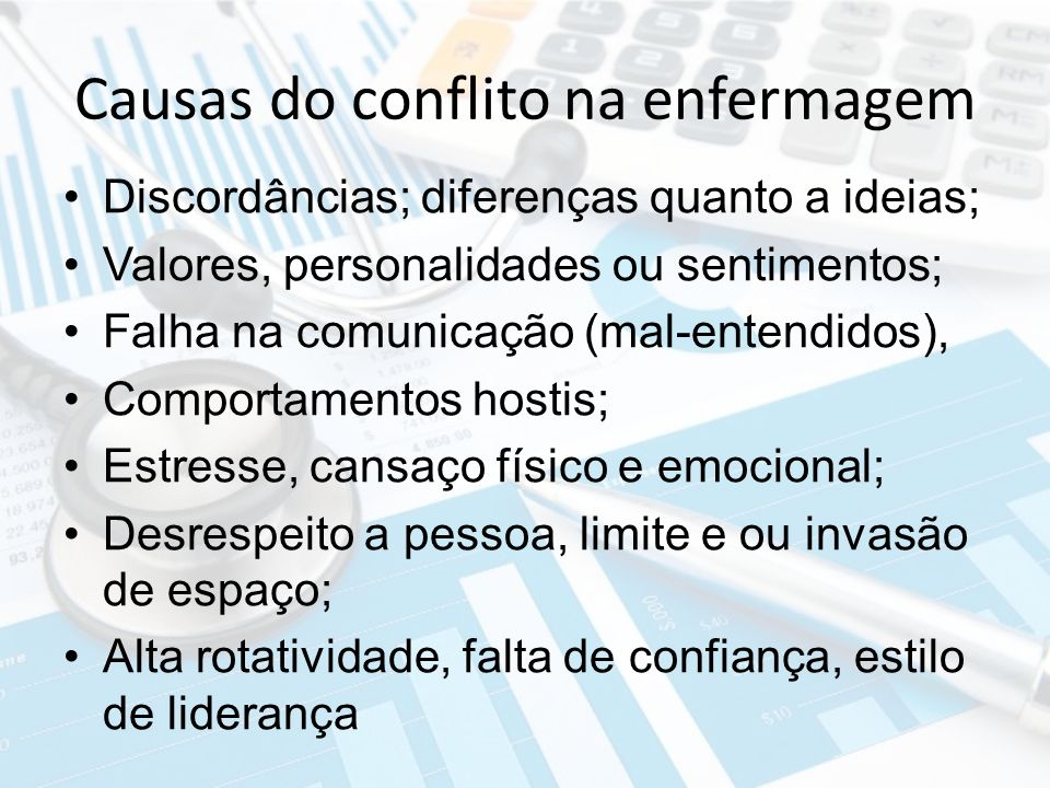 Causas do conflito na enfermagem