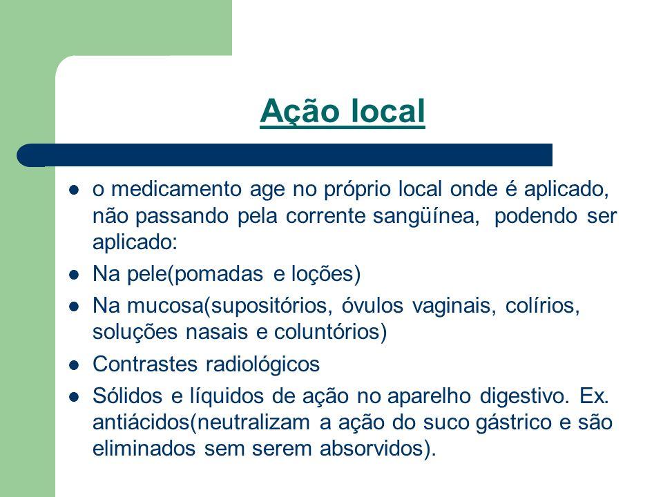 Ação local o medicamento age no próprio local onde é aplicado, não passando pela corrente sangüínea, podendo ser aplicado: