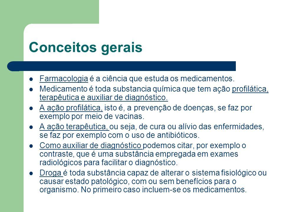 Conceitos gerais Farmacologia é a ciência que estuda os medicamentos.