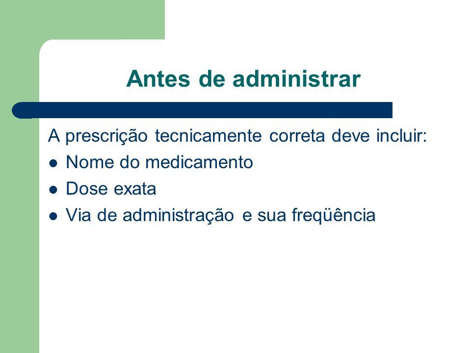 Antes de administrar A prescrição tecnicamente correta deve incluir: