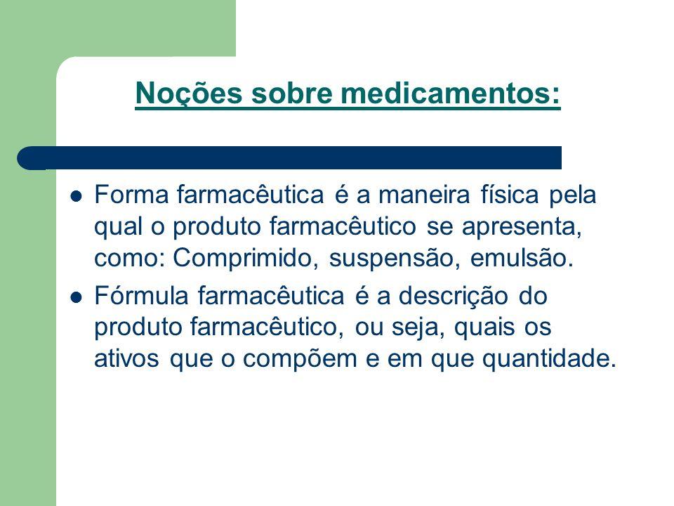 Noções sobre medicamentos: