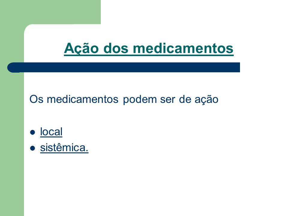 Ação dos medicamentos Os medicamentos podem ser de ação local
