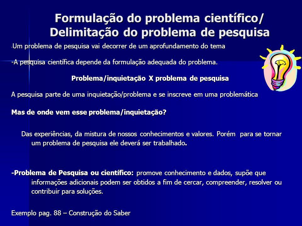 Formulação do problema científico/ Delimitação do problema de pesquisa