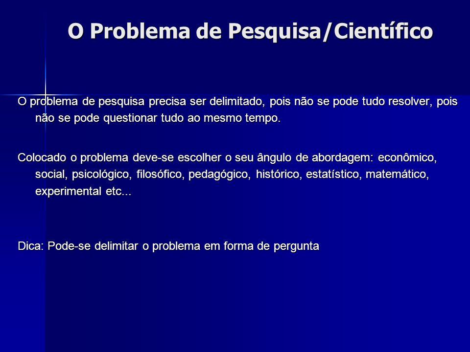 O Problema de Pesquisa/Científico