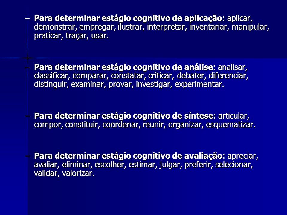 Para determinar estágio cognitivo de aplicação: aplicar, demonstrar, empregar, ilustrar, interpretar, inventariar, manipular, praticar, traçar, usar.