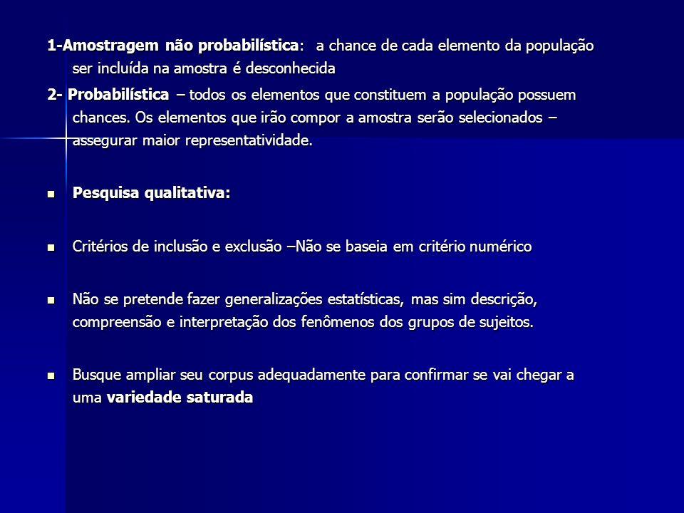 1-Amostragem não probabilística: a chance de cada elemento da população ser incluída na amostra é desconhecida