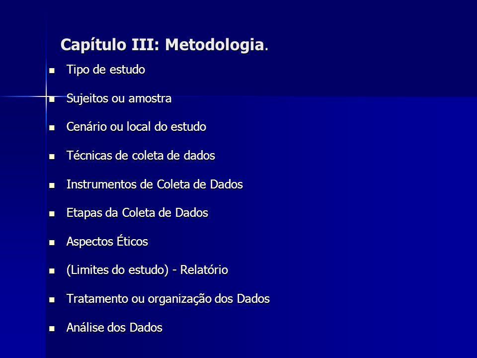Capítulo III: Metodologia.