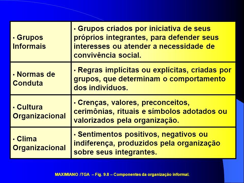 MAXIMIANO /TGA – Fig. 9.8 – Componentes da organização informal.