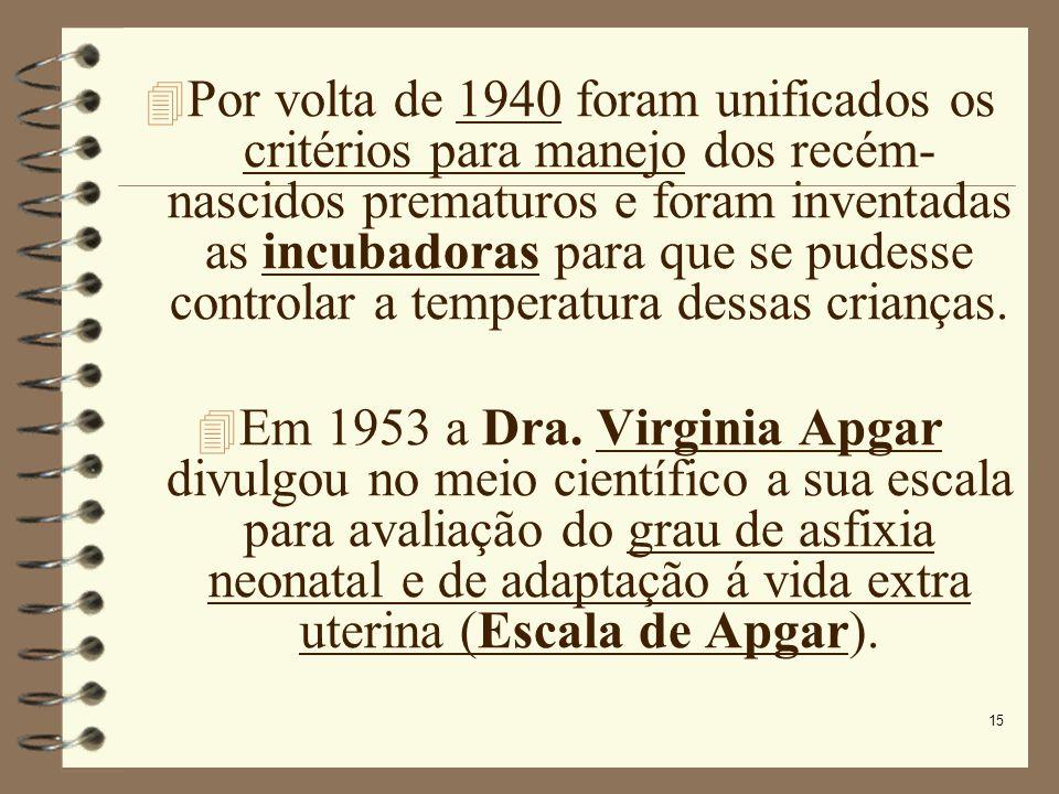 Por volta de 1940 foram unificados os critérios para manejo dos recém- nascidos prematuros e foram inventadas as incubadoras para que se pudesse controlar a temperatura dessas crianças.