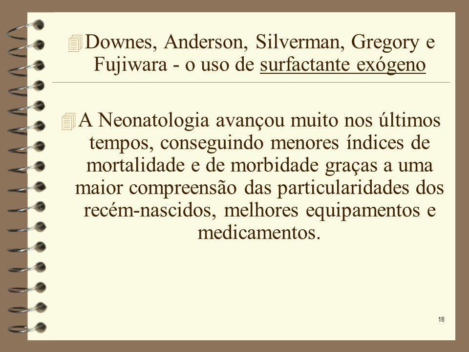 Downes, Anderson, Silverman, Gregory e Fujiwara - o uso de surfactante exógeno