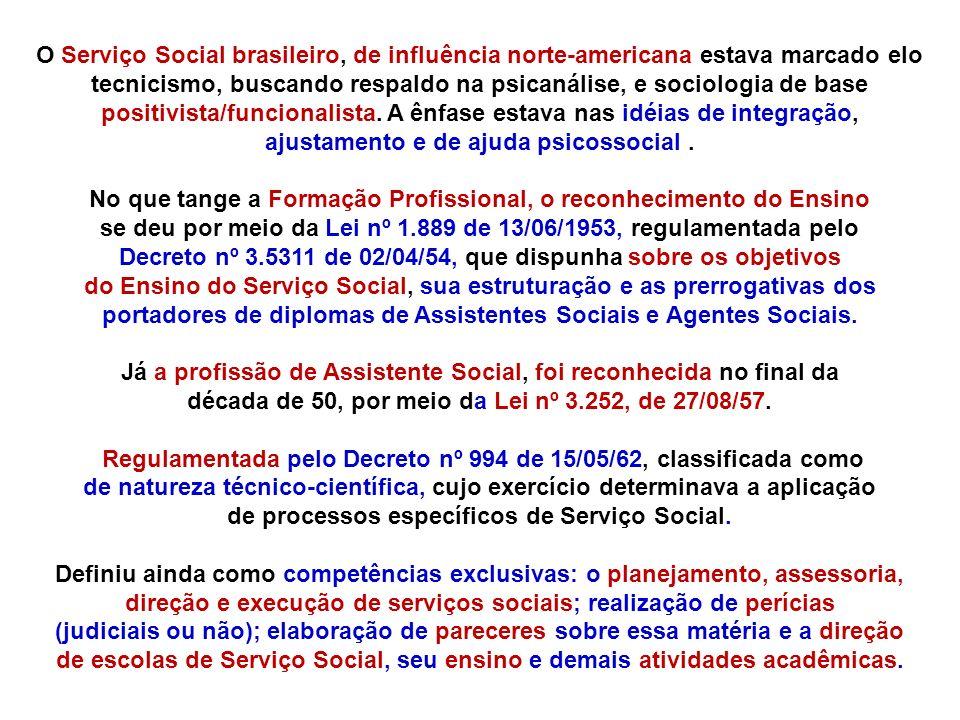 O Serviço Social brasileiro, de influência norte-americana estava marcado elo tecnicismo, buscando respaldo na psicanálise, e sociologia de base positivista/funcionalista. A ênfase estava nas idéias de integração, ajustamento e de ajuda psicossocial .