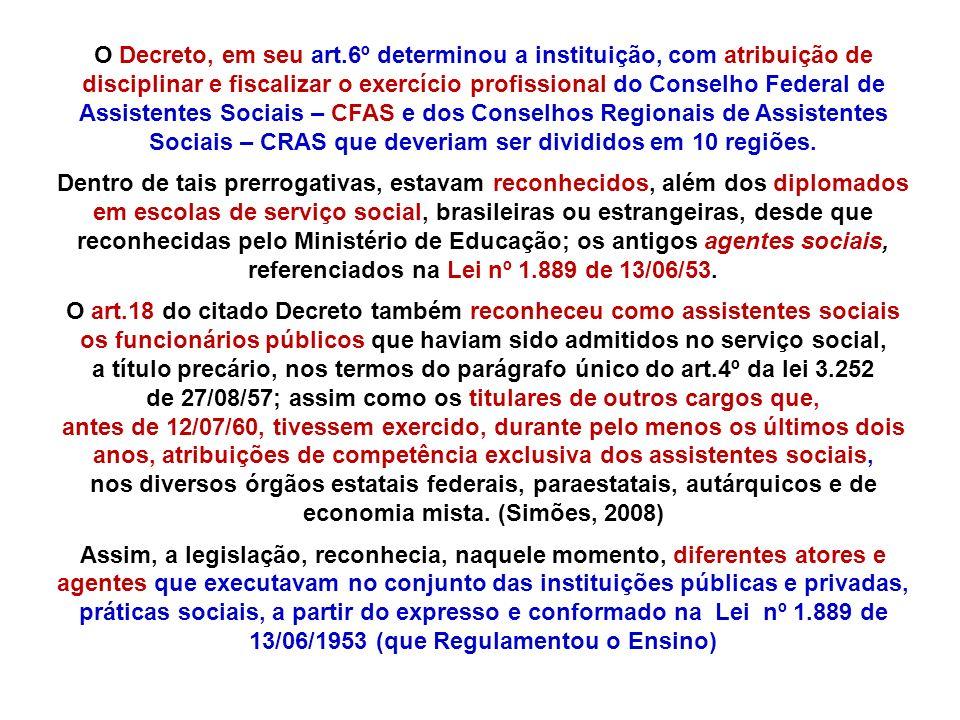 O Decreto, em seu art.6º determinou a instituição, com atribuição de disciplinar e fiscalizar o exercício profissional do Conselho Federal de Assistentes Sociais – CFAS e dos Conselhos Regionais de Assistentes Sociais – CRAS que deveriam ser divididos em 10 regiões.