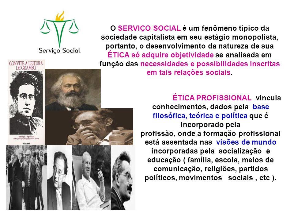 O SERVIÇO SOCIAL é um fenômeno típico da sociedade capitalista em seu estágio monopolista, portanto, o desenvolvimento da natureza de sua ÉTICA só adquire objetividade se analisada em função das necessidades e possibilidades inscritas em tais relações sociais.