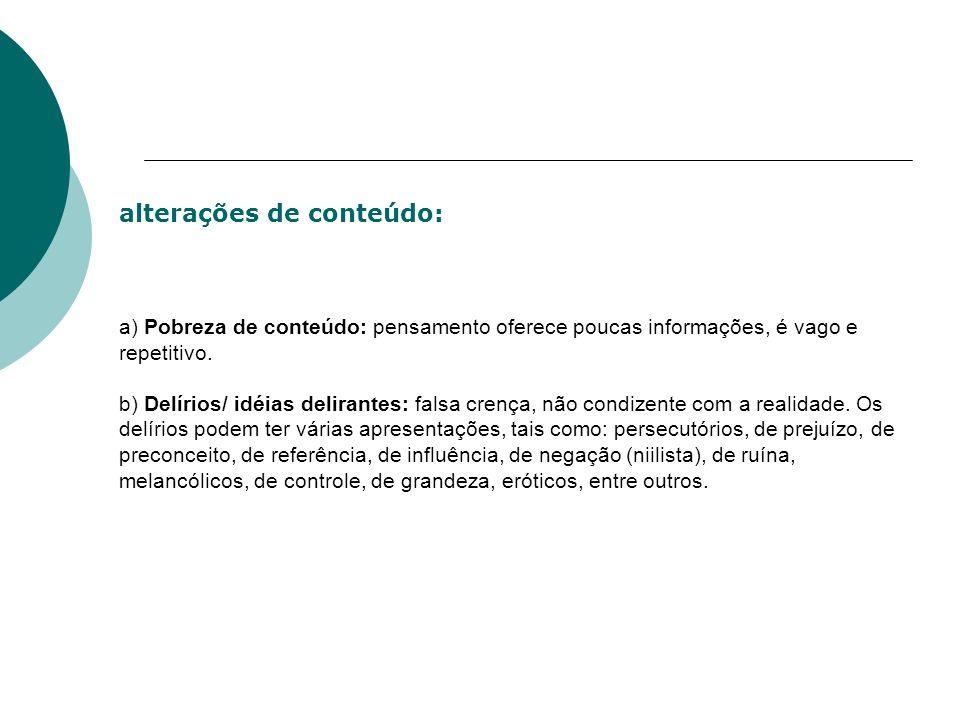 alterações de conteúdo: