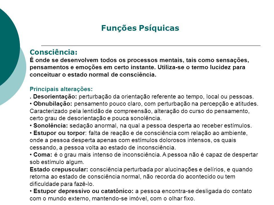 Funções Psíquicas Consciência:
