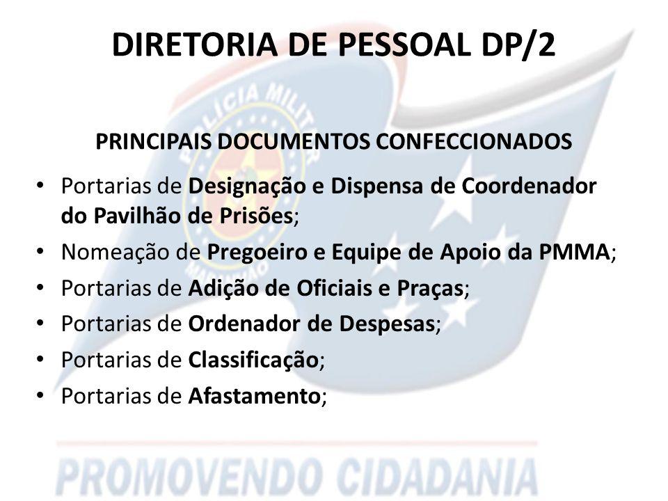 DIRETORIA DE PESSOAL DP/2 PRINCIPAIS DOCUMENTOS CONFECCIONADOS