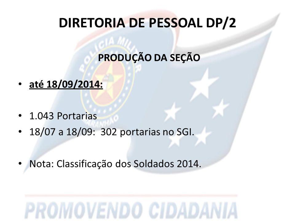DIRETORIA DE PESSOAL DP/2 PRODUÇÃO DA SEÇÃO