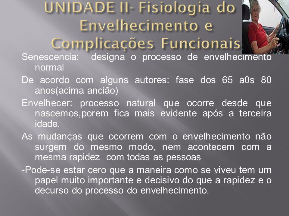 UNIDADE II- Fisiologia do Envelhecimento e Complicações Funcionais
