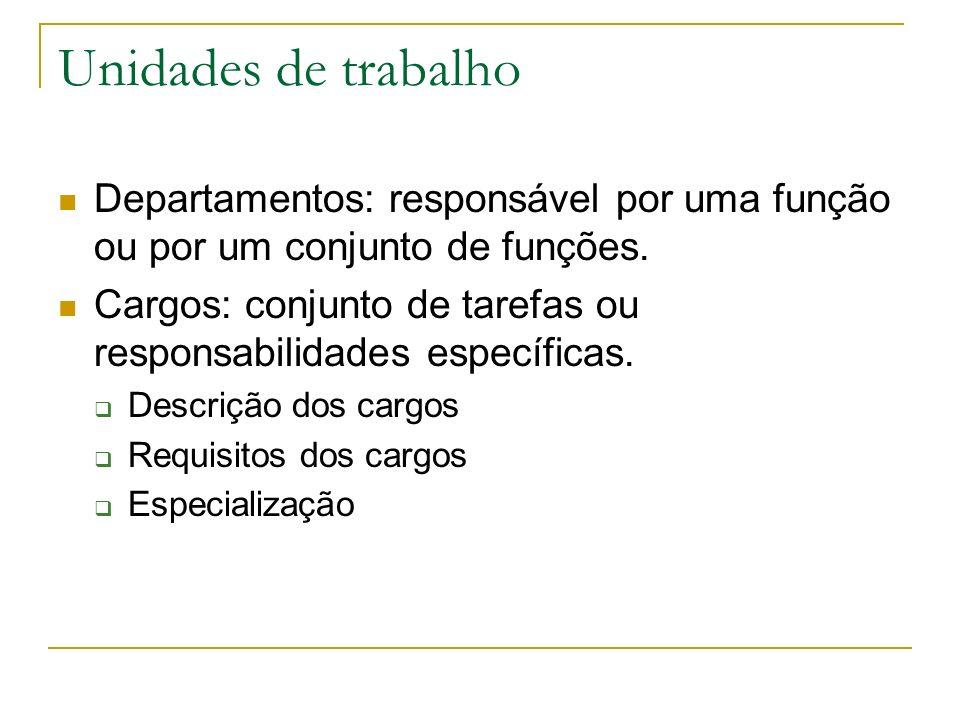 Unidades de trabalho Departamentos: responsável por uma função ou por um conjunto de funções.