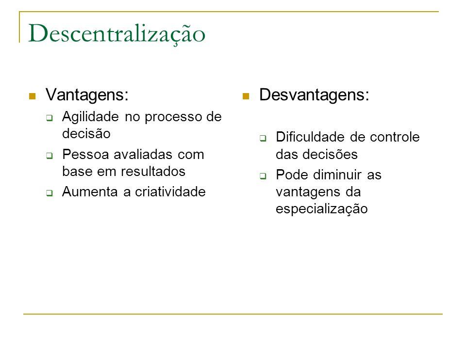 Descentralização Vantagens: Desvantagens: