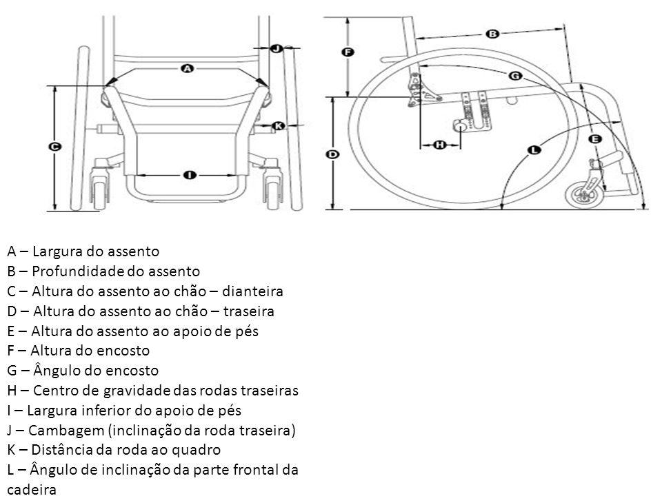 A – Largura do assento B – Profundidade do assento C – Altura do assento ao chão – dianteira D – Altura do assento ao chão – traseira E – Altura do assento ao apoio de pés F – Altura do encosto G – Ângulo do encosto H – Centro de gravidade das rodas traseiras I – Largura inferior do apoio de pés J – Cambagem (inclinação da roda traseira) K – Distância da roda ao quadro L – Ângulo de inclinação da parte frontal da cadeira