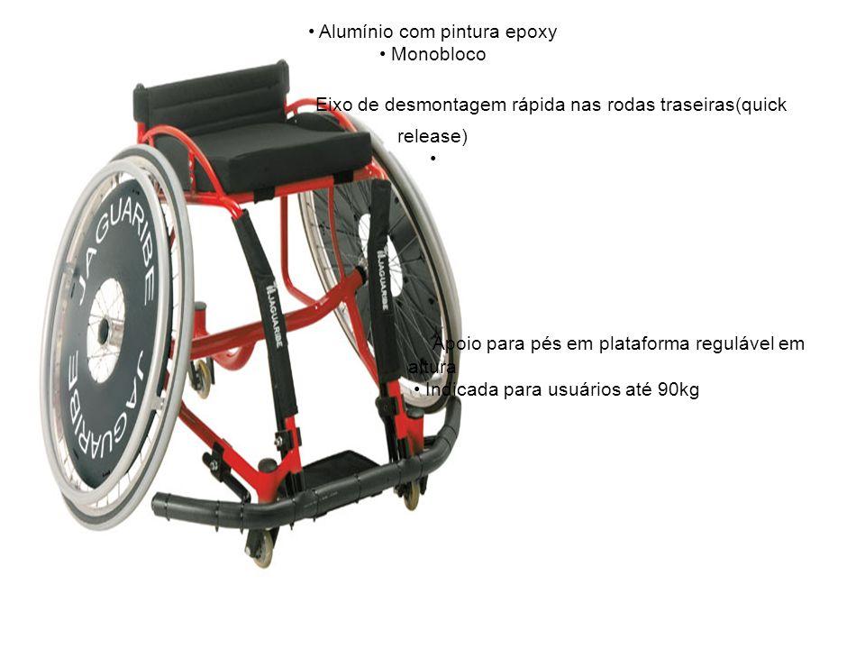 • Alumínio com pintura epoxy • Monobloco Eixo de desmontagem rápida nas rodas traseiras(quick release) • Apoio para pés em plataforma regulável em altura • Indicada para usuários até 90kg