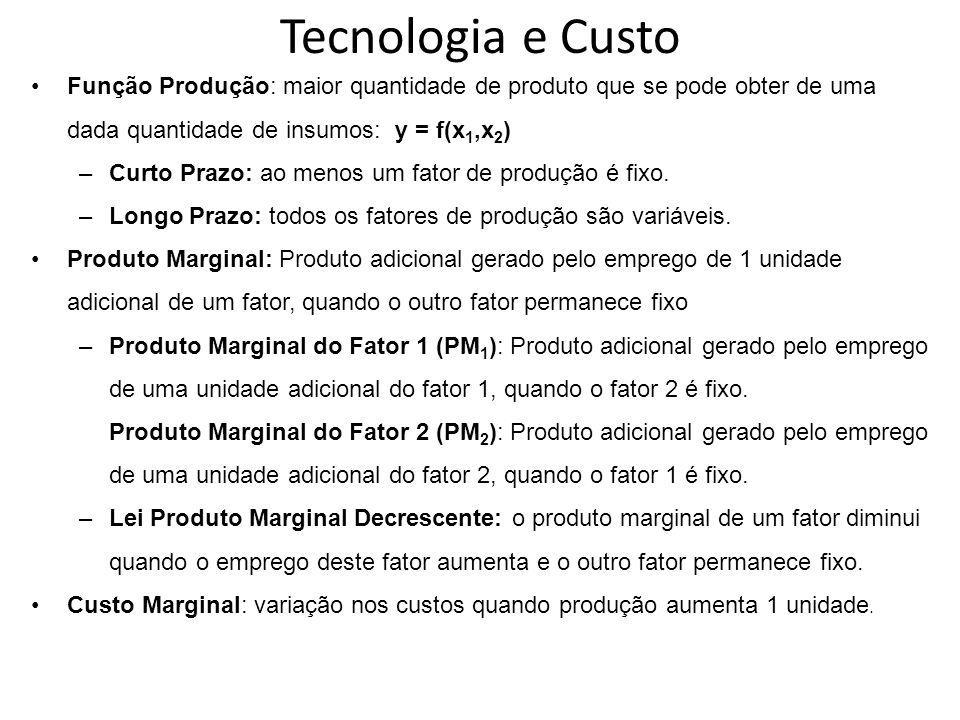 Tecnologia e Custo Função Produção: maior quantidade de produto que se pode obter de uma dada quantidade de insumos: y = f(x1,x2)