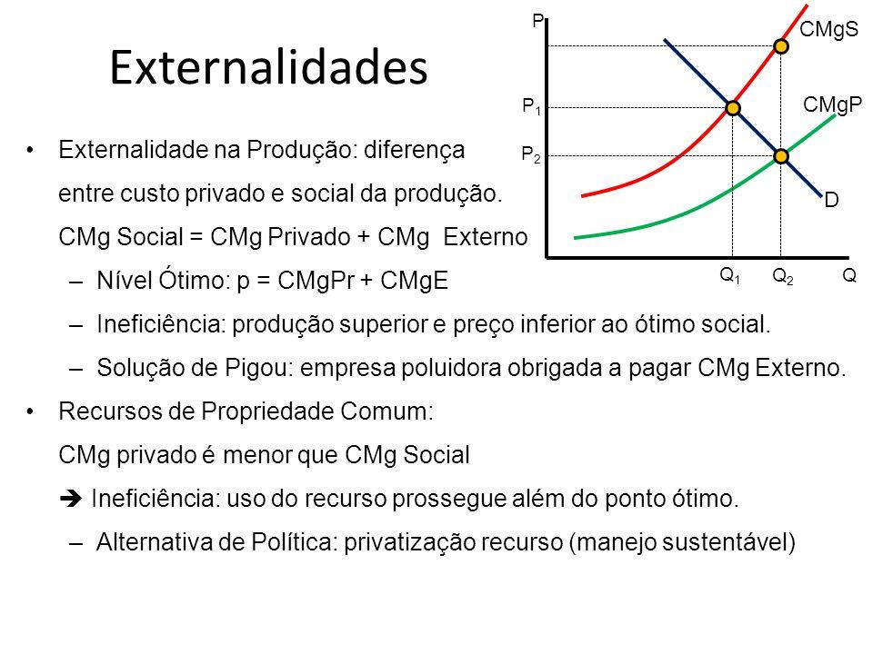 Externalidades Externalidade na Produção: diferença