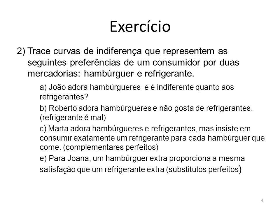 Exercício 2) Trace curvas de indiferença que representem as seguintes preferências de um consumidor por duas mercadorias: hambúrguer e refrigerante.