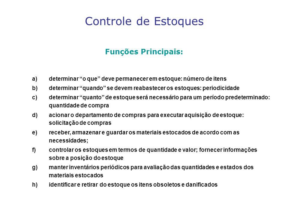 Controle de Estoques Funções Principais: