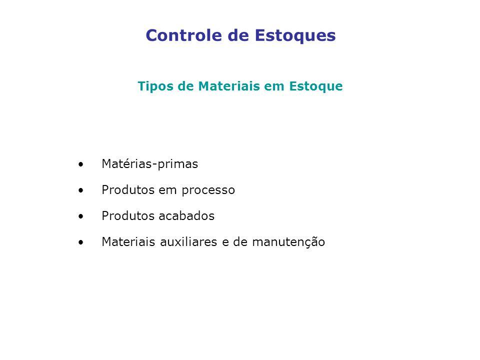 Tipos de Materiais em Estoque