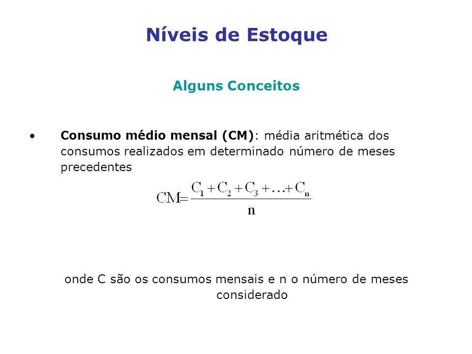 onde C são os consumos mensais e n o número de meses considerado