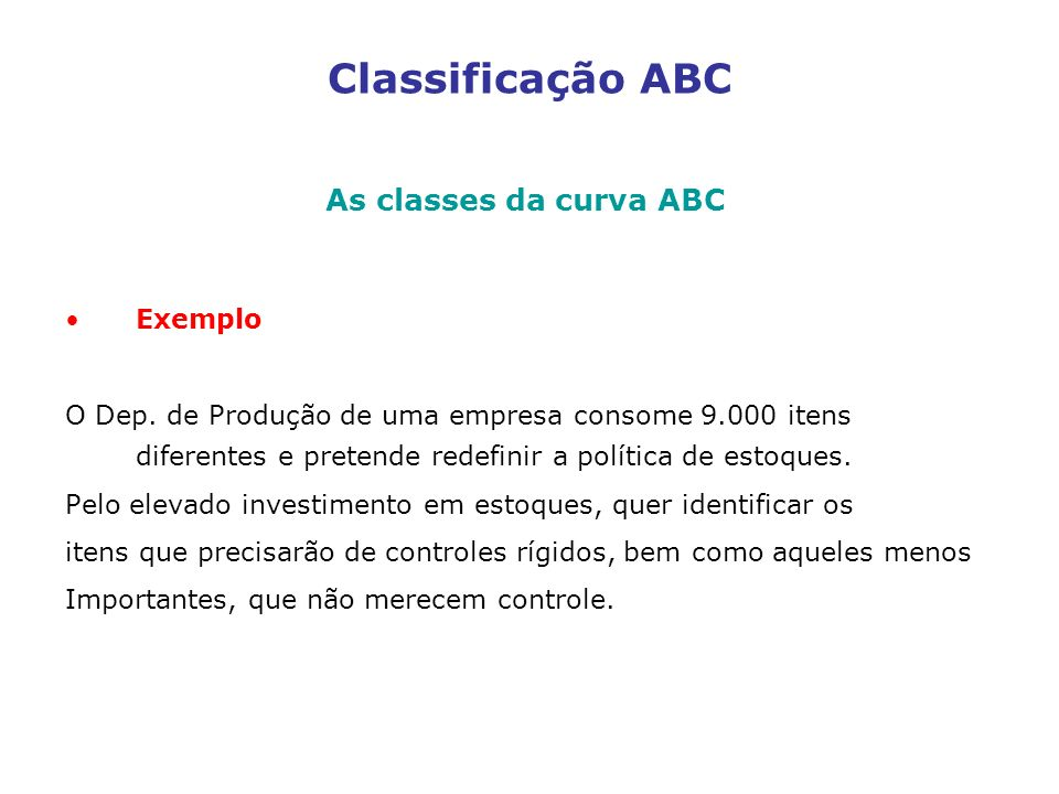 Classificação ABC As classes da curva ABC Exemplo