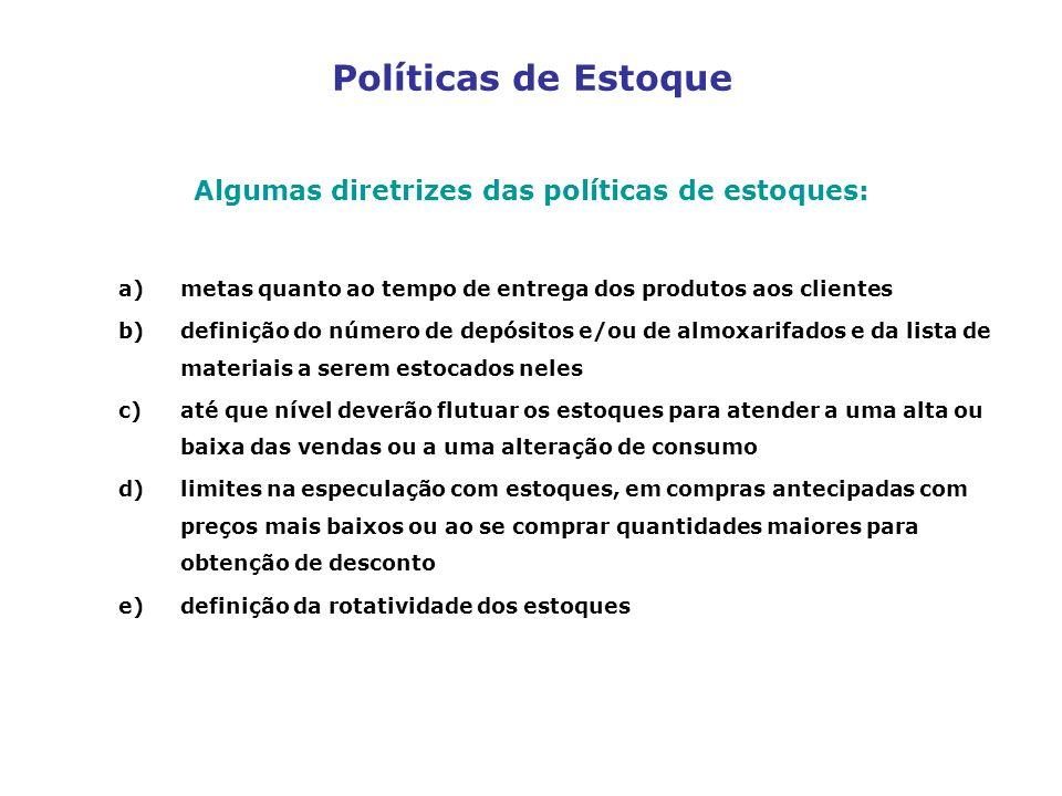 Algumas diretrizes das políticas de estoques: