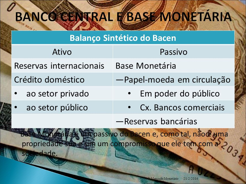 BANCO CENTRAL E BASE MONETÁRIA