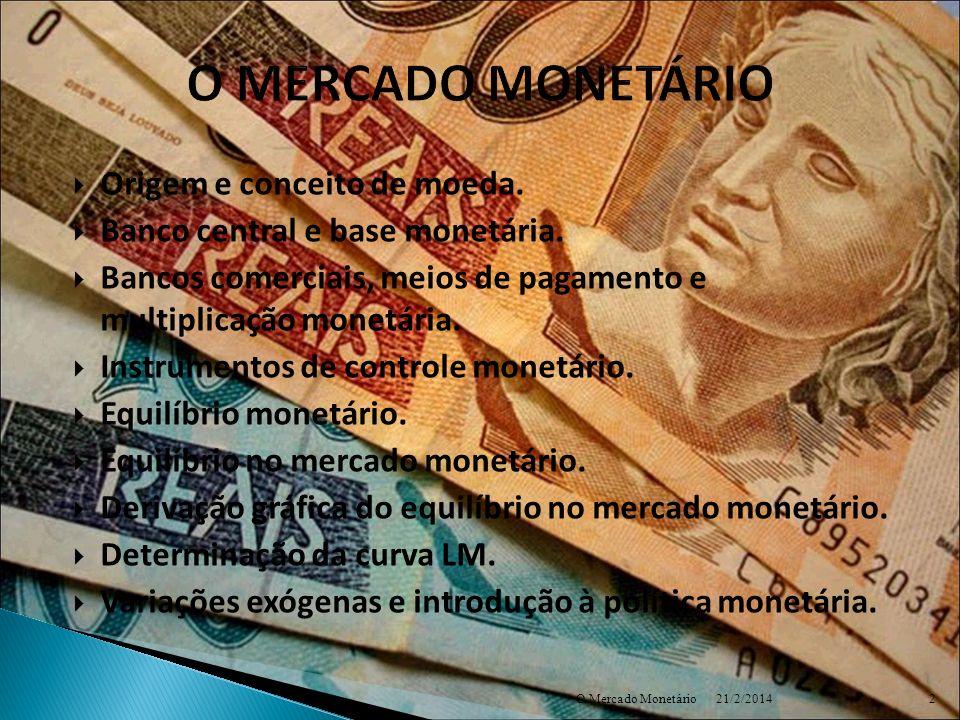 O MERCADO MONETÁRIO Origem e conceito de moeda.