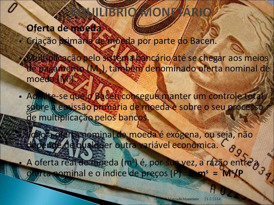 EQUILÍBRIO MONETÁRIO Criação primária de moeda por parte do Bacen.