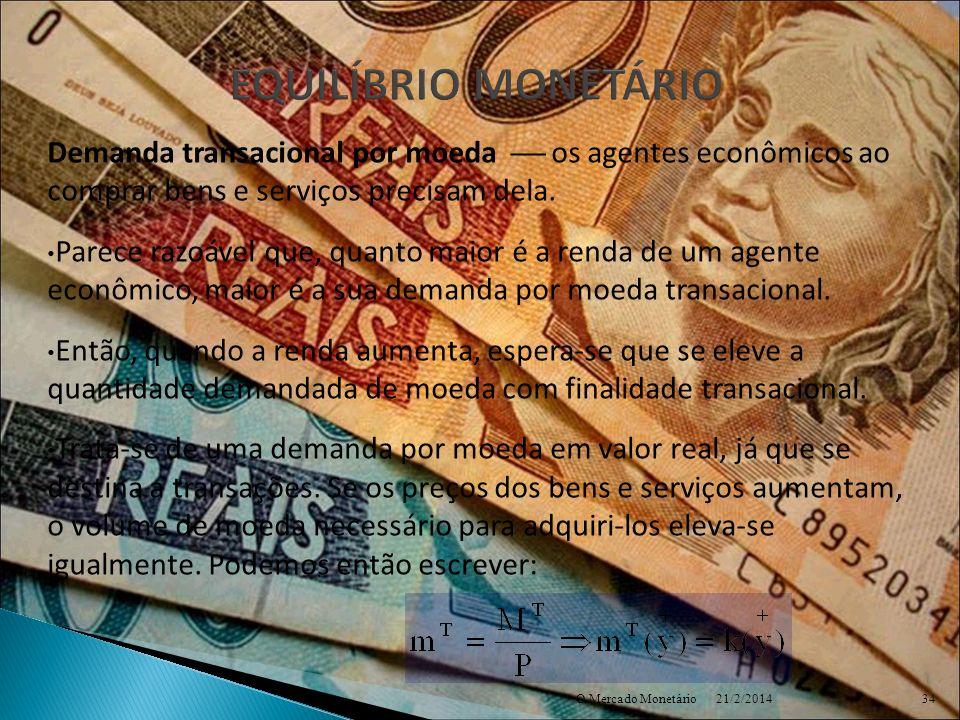EQUILÍBRIO MONETÁRIO Demanda transacional por moeda  os agentes econômicos ao comprar bens e serviços precisam dela.