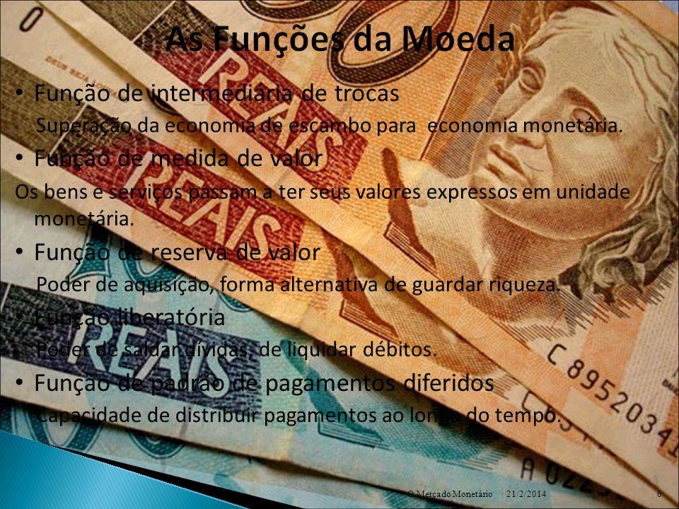 As Funções da Moeda Função de intermediária de trocas