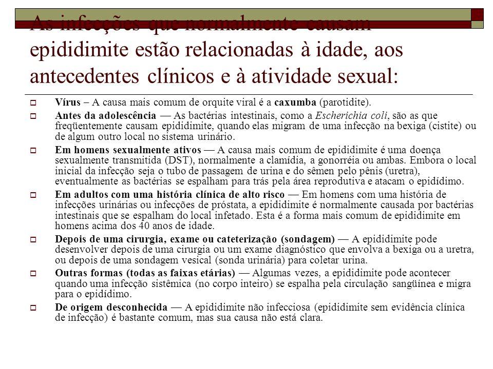 As infecções que normalmente causam epididimite estão relacionadas à idade, aos antecedentes clínicos e à atividade sexual: