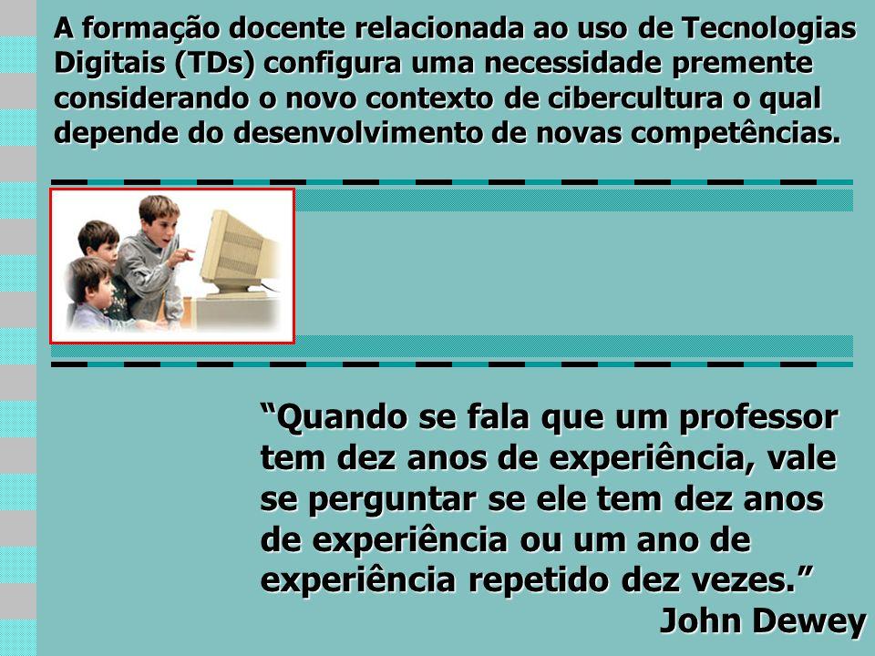 A formação docente relacionada ao uso de Tecnologias Digitais (TDs) configura uma necessidade premente considerando o novo contexto de cibercultura o qual depende do desenvolvimento de novas competências.