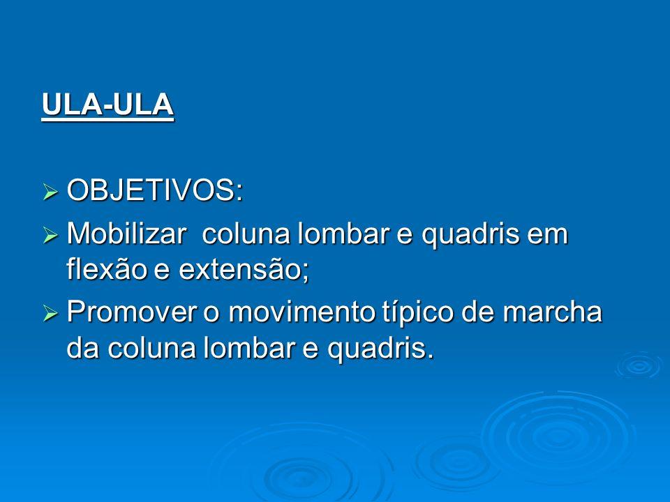 ULA-ULA OBJETIVOS: Mobilizar coluna lombar e quadris em flexão e extensão; Promover o movimento típico de marcha da coluna lombar e quadris.
