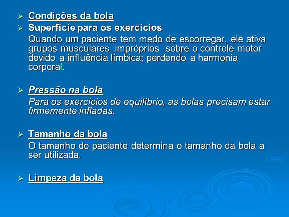Condições da bola Superfície para os exercícios.