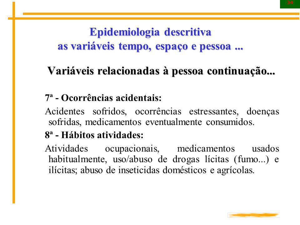 Epidemiologia descritiva as variáveis tempo, espaço e pessoa ...